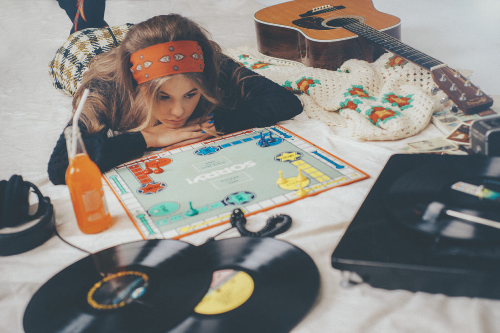Game Night Sorry Board Game Martin Guitar Crush Orange Soda Vinyl Records Vintage Polaroids Kerri Medders