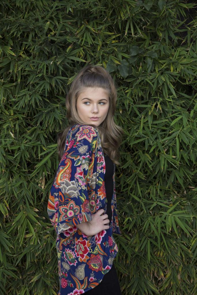 Kerri Medders flower kimono for Popmania Photo Shoot